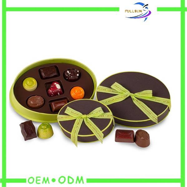 luxury handmade round paper chocolate packaging box with ribbon