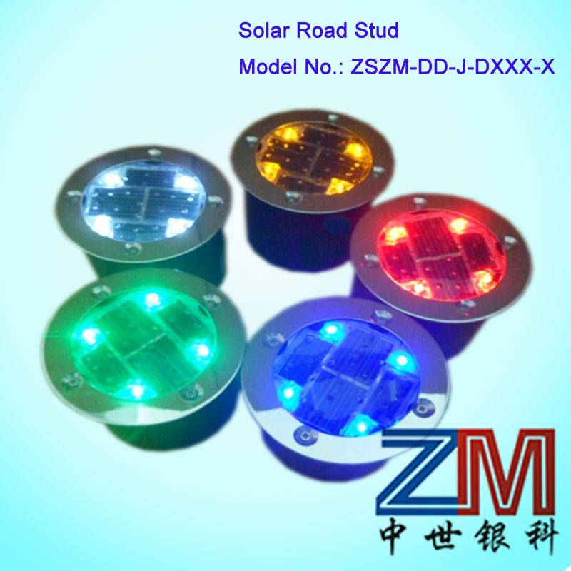 Round Aluminum  Solar power LED Underground Road Stud