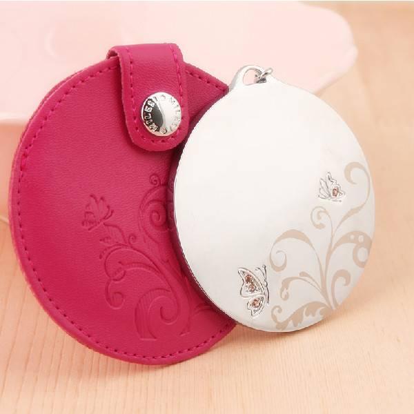 purse mirror gift PU leather metal purse mirror