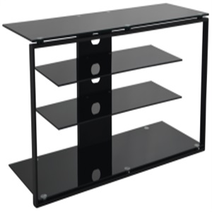 black silk screen tempered glass tv stand