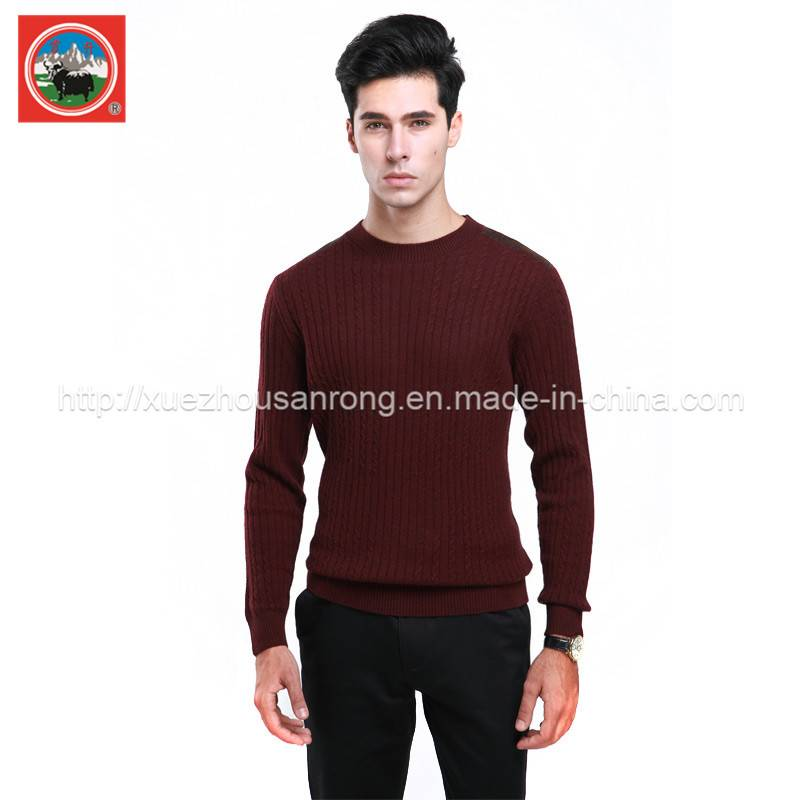 Men's yak wool/cashmere knitted pullover/cardigan sweater