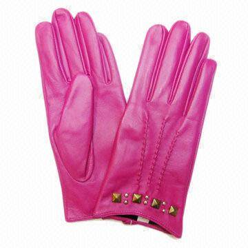 Pink +leather +gloves