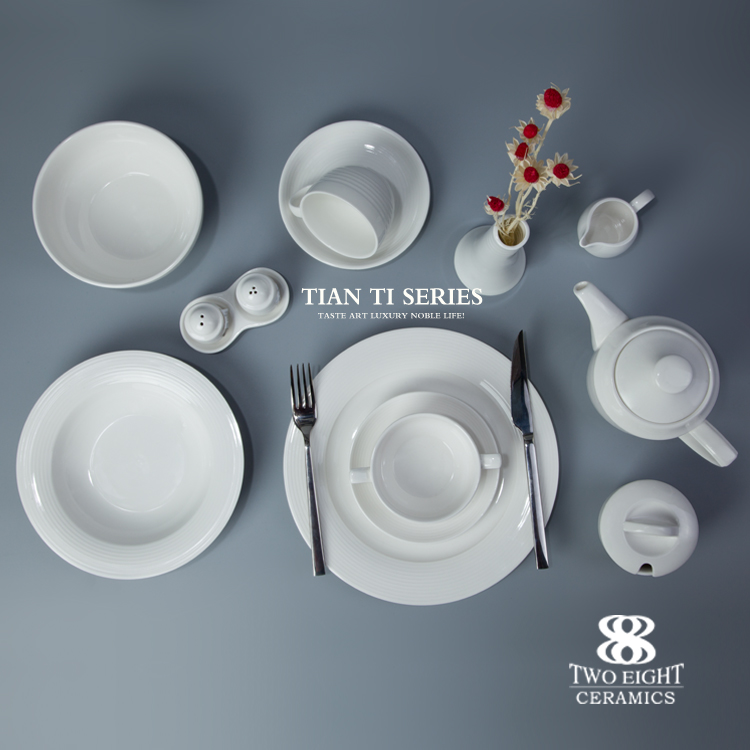 Wholesale ceramic crockery dinning table set, plate and bowl for hotel