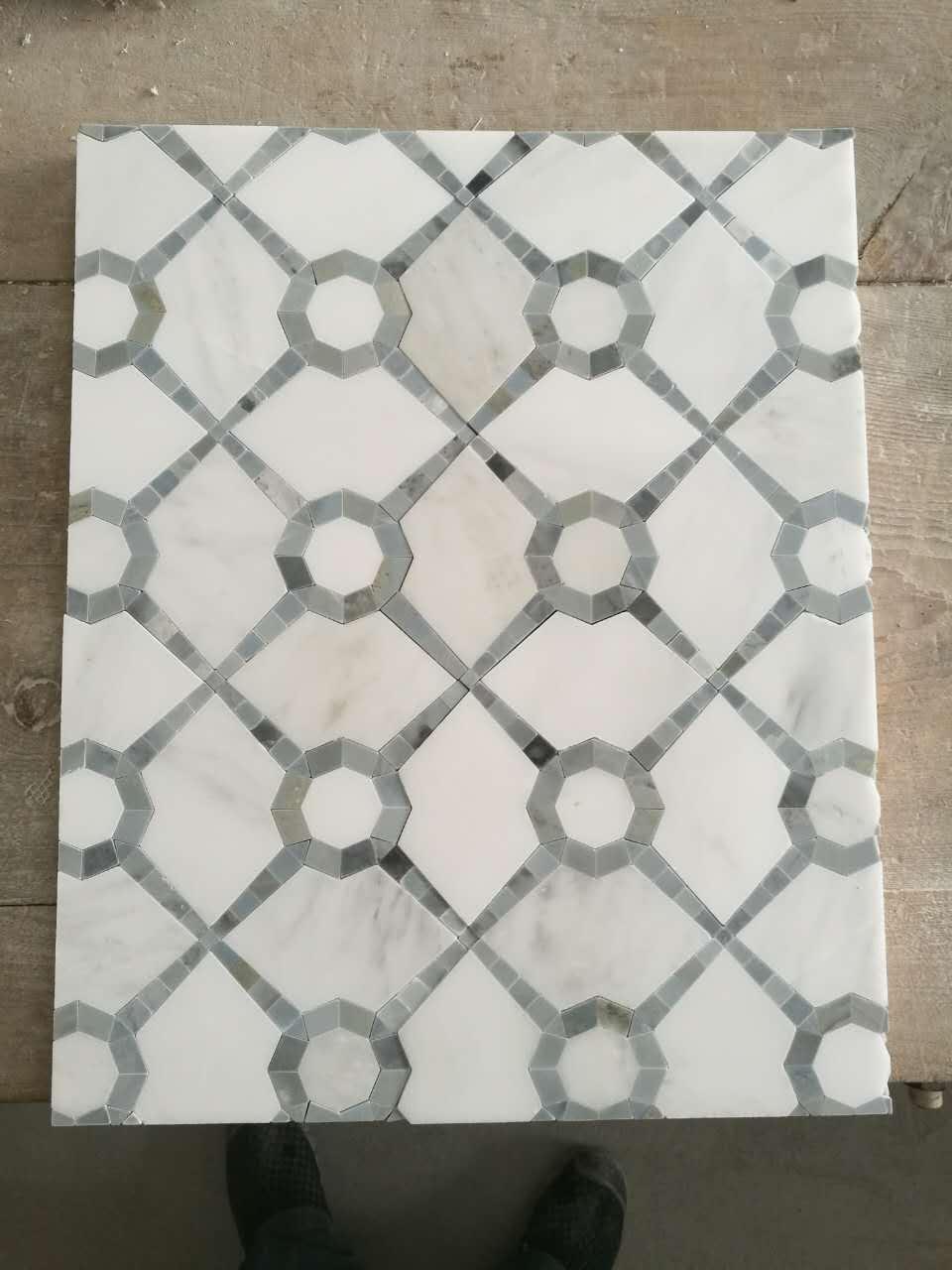 white polished mosaic tile