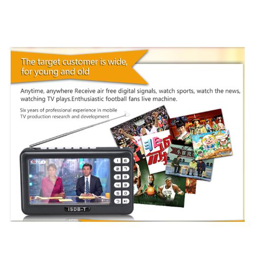 ISDB-T One Seg 4.3inch Screen Size Mini Portable TV MP5 Support FM, Earphone, working in South Ameri