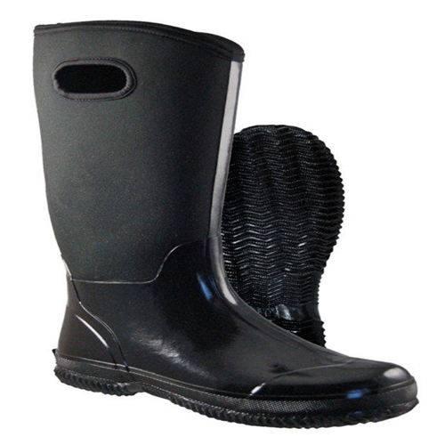 Black fashion rain boots with neoprene for men