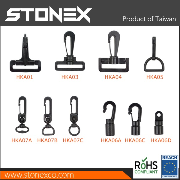 Stonex Plastic Hooks snap and swivel hooks for shoulder bags and webbing