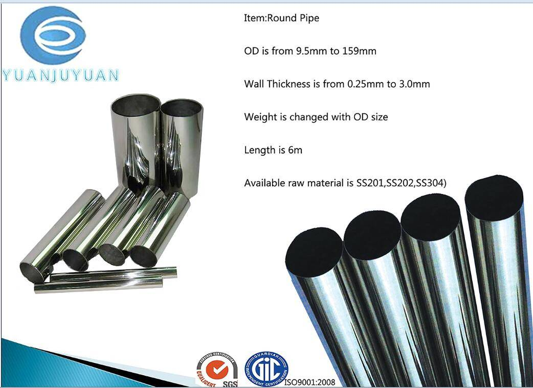stainless steel round pipe for constrcution