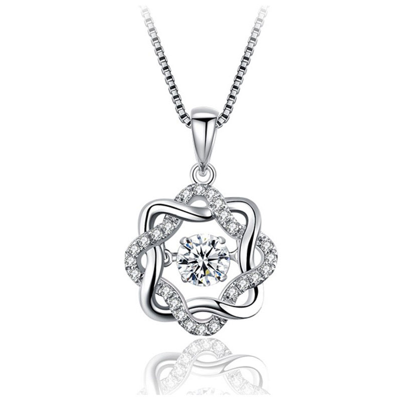 Eight Satr Flower Turn CZ 925 Sterling Silver Pendant