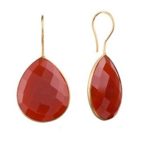 925 sterling silver Red Onyx Gemstone Earring-Vermeil Gold