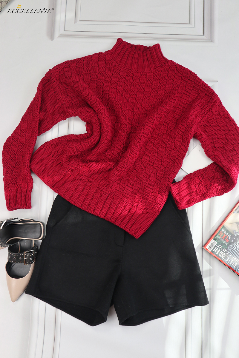 Eccellente Custom Autumn and Winter Women's Sweater Loose Solid Color Top Thickened Pullover Commute