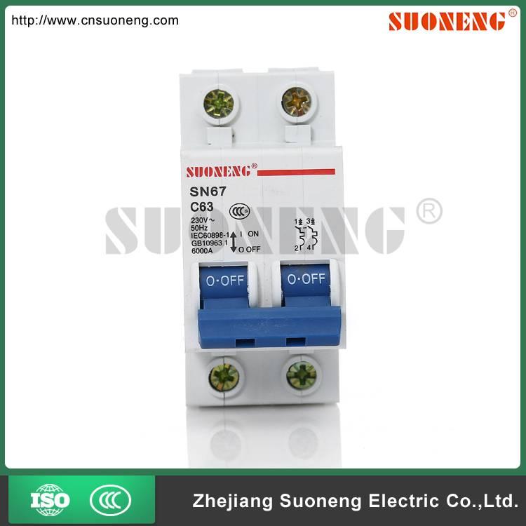 DZ47 ISO9001&14001 63A 2 pole circuit breaker