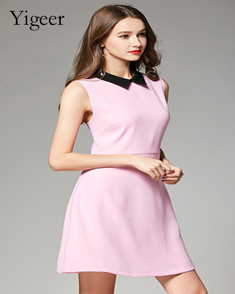 Sleeveless Pure Color Elegant A-line Ladies' Dress
