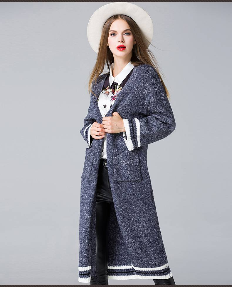 2015 popular in alibaba fashion panelled knitted overcoat without buttons