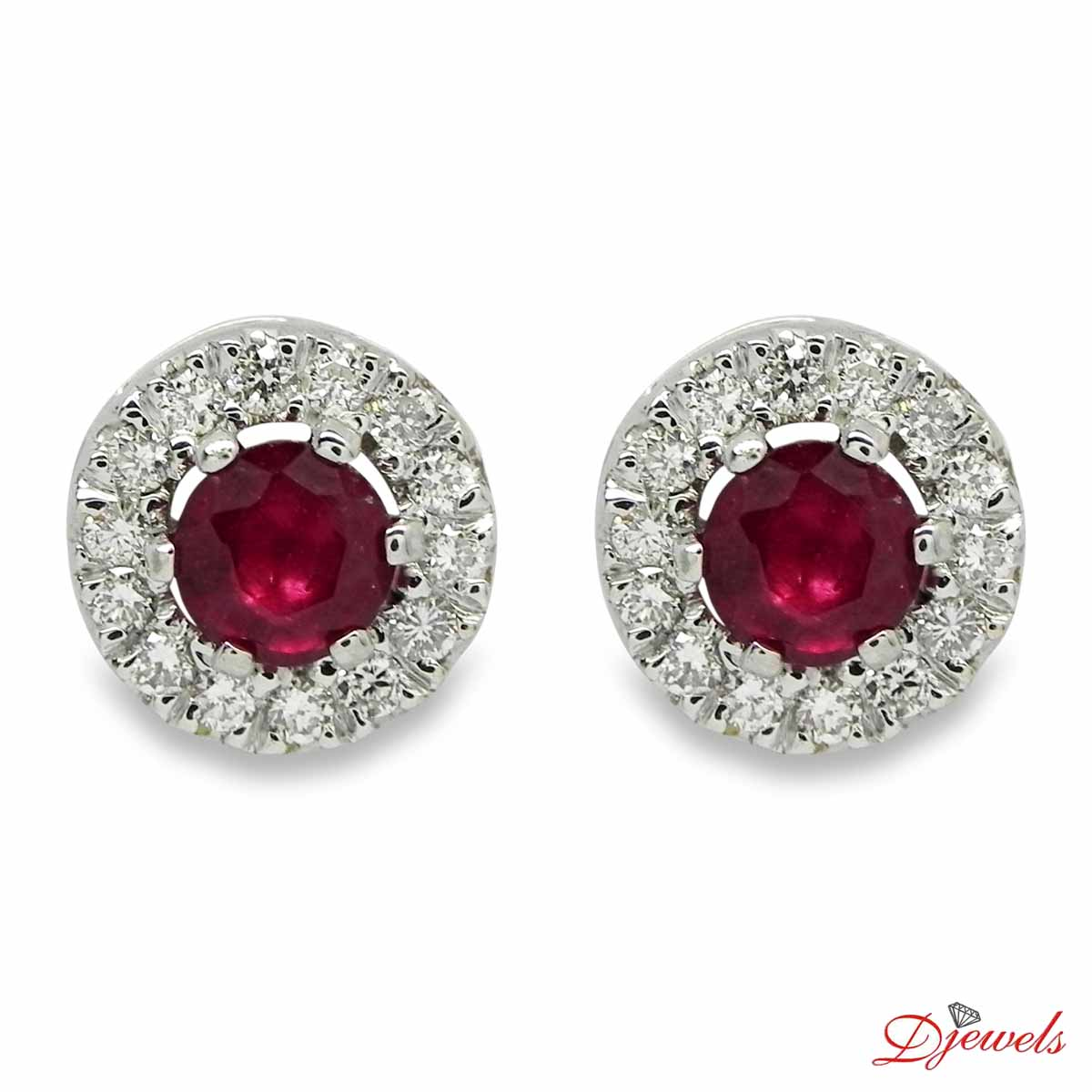 Diamond Earrings Meg With Real Ruby