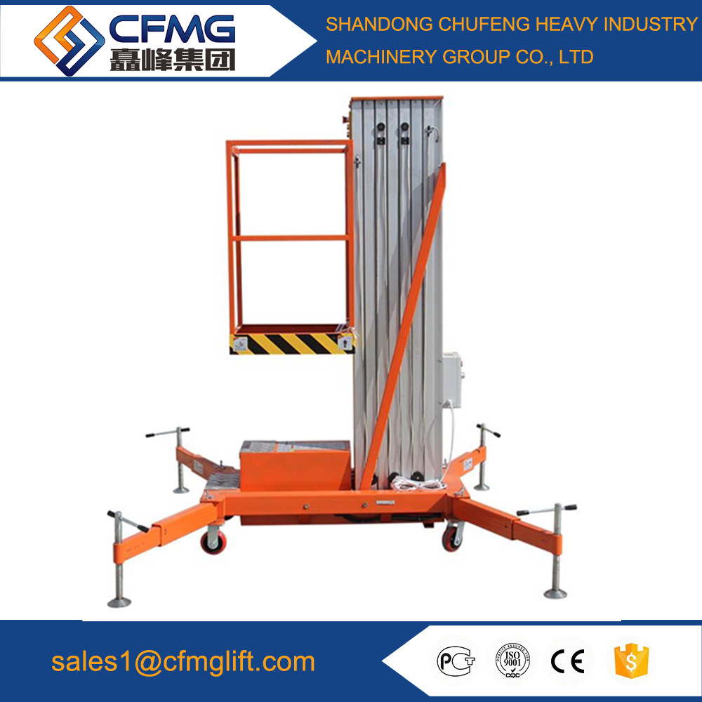 single mast clean aerial working indoor aluminum alloy lift platform adjustble
