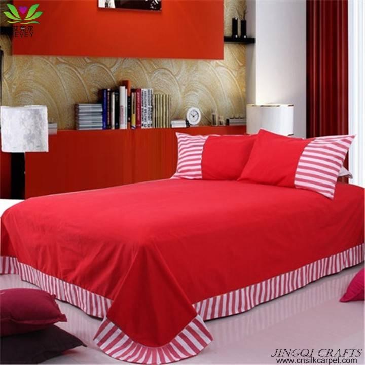 """Breathable cloth"" Hand woven 100% cotton bedding sets 4pcs zz4008"