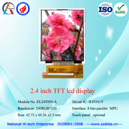 top quality 2.4 inch tft lcd display with rgb/spi/mpu interface