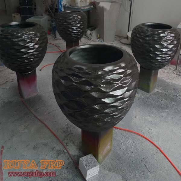 Black bowl,fiberglass indoor decoration plant pot