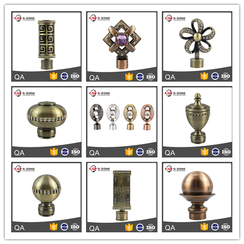 Modern home decor wrought iron curtain rod finials