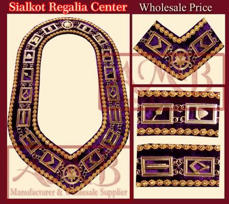 Masonic chain collar with rhinestone