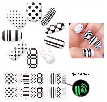 Decorative lovely glow in dark nail sticker for women