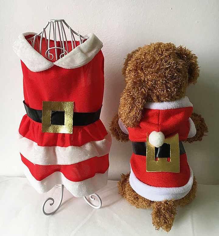 Pet Small Dog Cat Santa Claus Costume Outfit Jumpsuit Clothes For Christmas