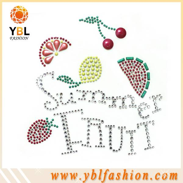 Summer fruit design hot fix rhinestone motif for tees