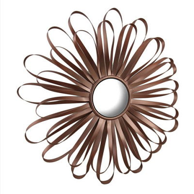 Retro Ribbon Flower Rose Gold Finish Metal Wall Mirror 16 In