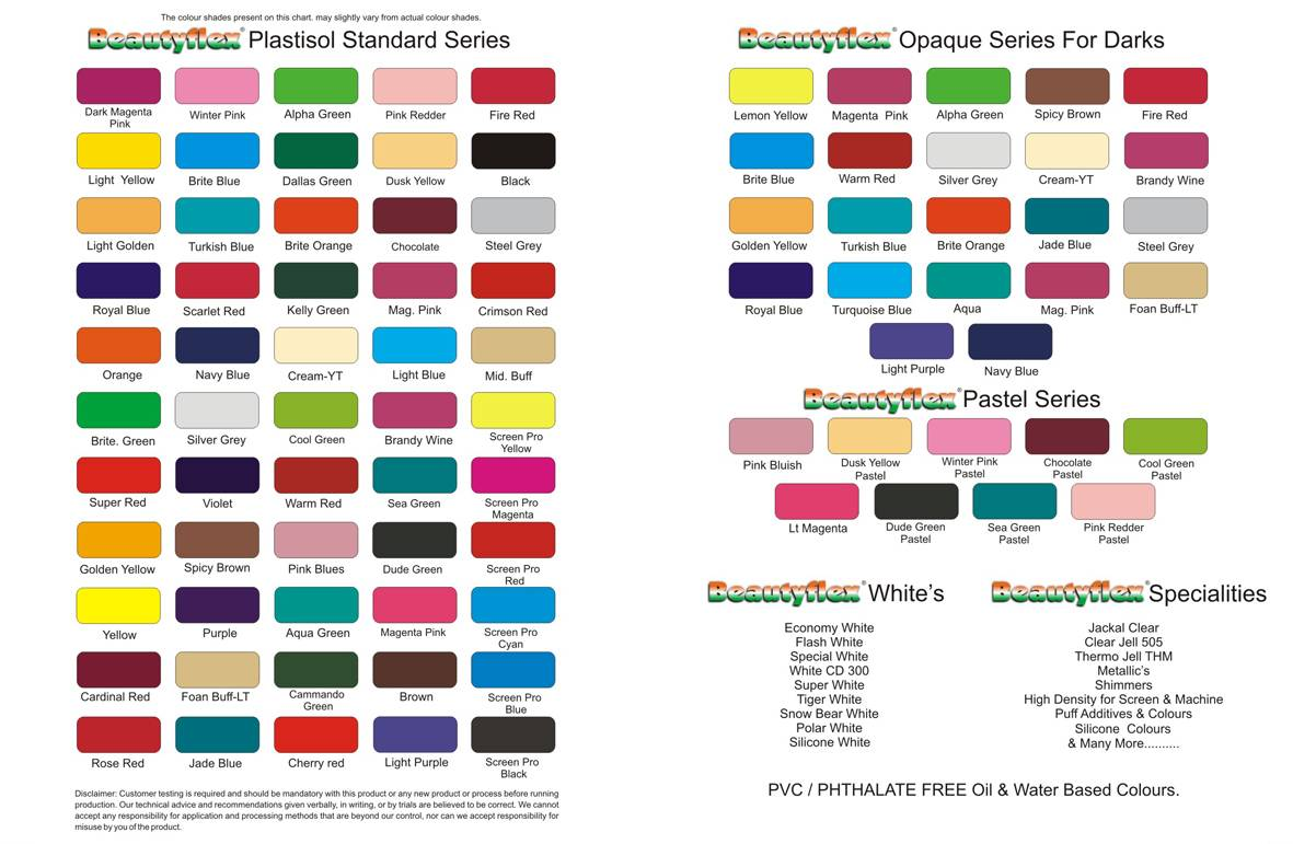 Beautyflex Plastisol Textile Screen Inks