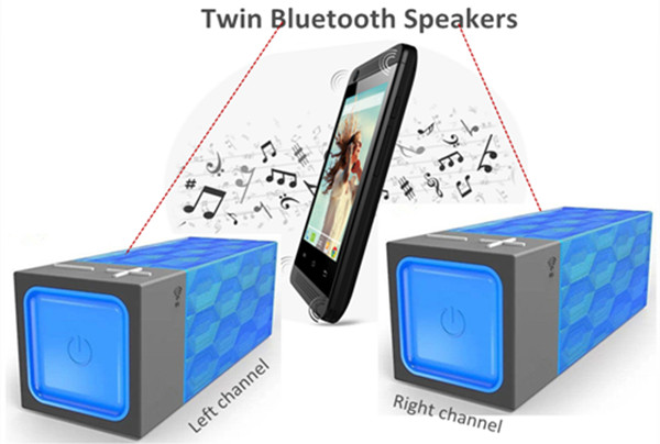 Dual Stereo Twin Wireless Bluetooth Speaker With Clock