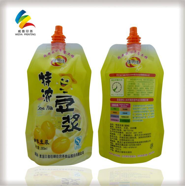 Food packaging plastic bag,spouted special shape stand up pouch,plastic packaging bag with QS/OEM