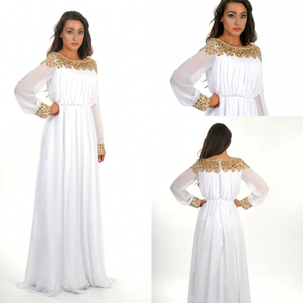 2014 New Design White Gold Chiffon Pleating Sequin A line Scoop Arabic Kaftan Dubai Full Sleeve Floo