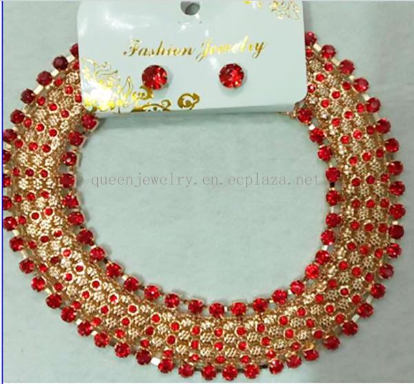 custom necklace women's Austrian crystal necklace dangle earring sexy collar jewelry set