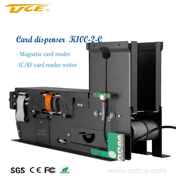 DC24V rs232 interface magnetic/ic/rfid card reader writer dispenser for parking