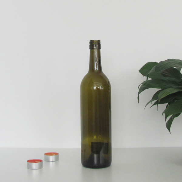 750ml olive green screw cap bordeaux wine bottle