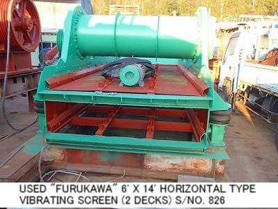 USED FURUKAWA 1800MM X 4200MM (6FT X 14FT) HORIZONTAL TYPE VIBRATING SCREEN (2 DECKS) S/NO. 826