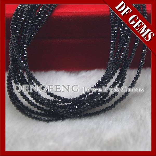 Factory price wuzhou ball shape black color spinel gemstone beads for bracelet necklace