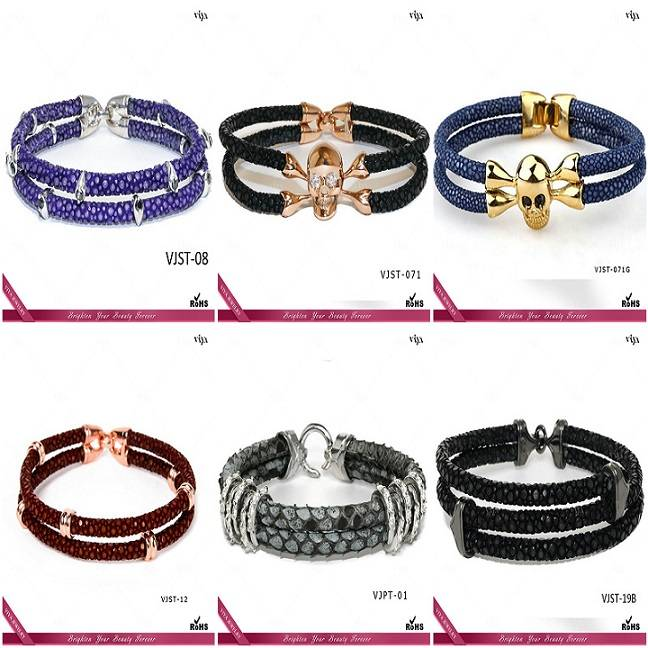 2015 China top AAA high quality  hot 100% genuine stingray leather bracelet, black stingray leather