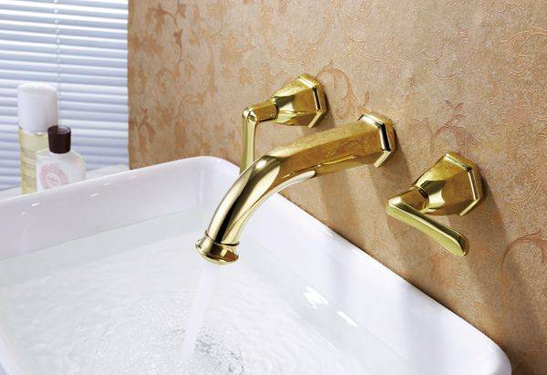 Luxury brass gold plated bathroom wall mounted lavatory faucet