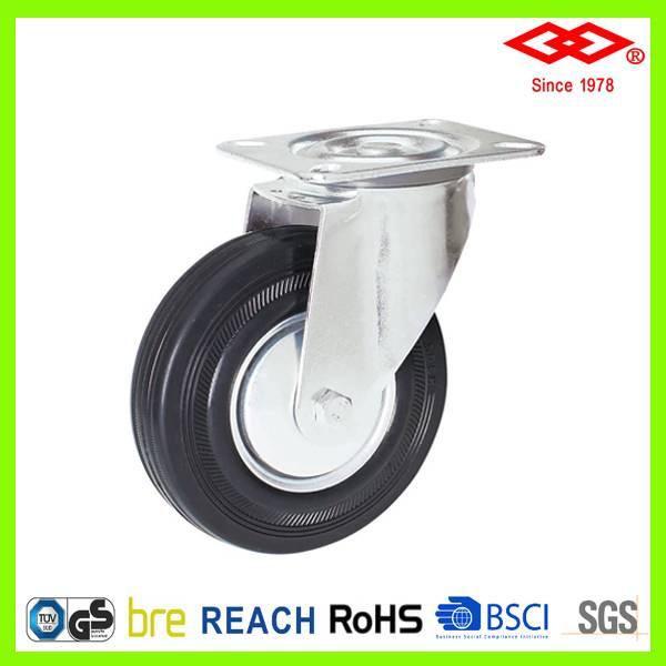 100mm swivel plate black rubber industrial caster