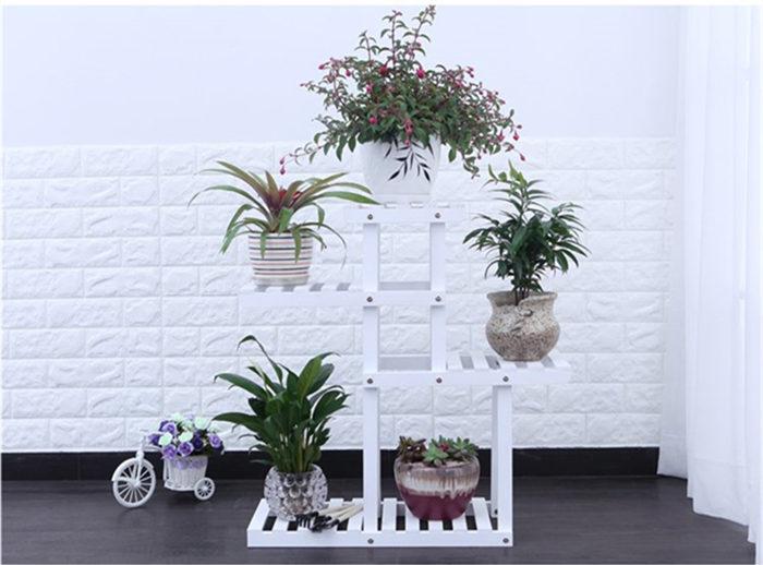 Firm wood plant stand 4 tiers flower shelf unit FS005