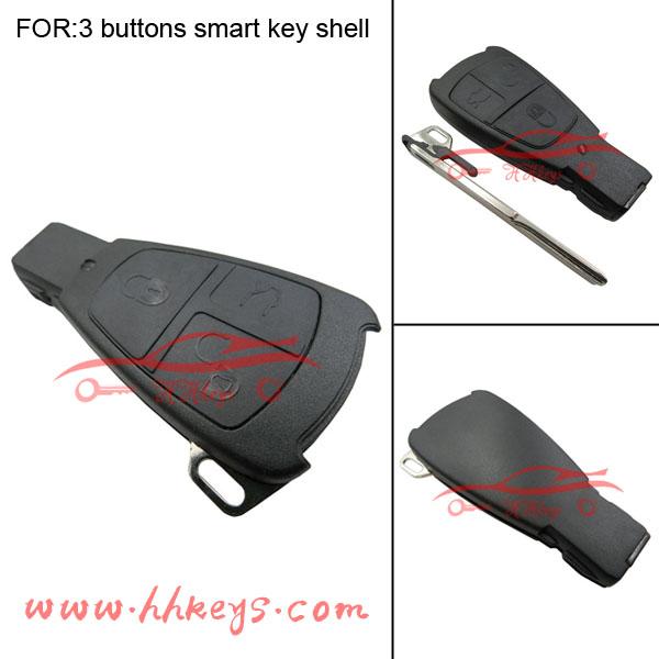 Benz 3 button smart car key shell fob case no logo