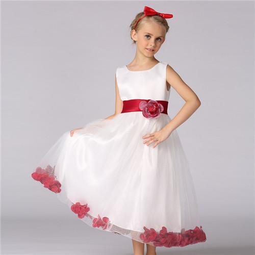 Children dress skirt girl long sleeve wedding dress new red bow Princess dress Baby girl Dress, flow