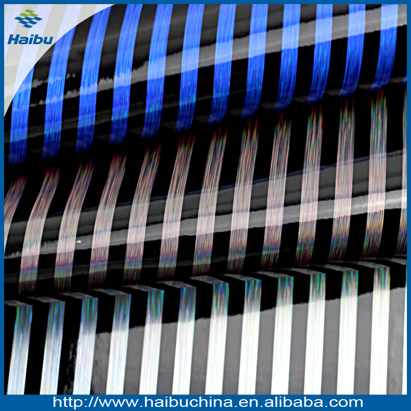 Hot Sale Stripe Pattern with Gold-wire PVC Leather