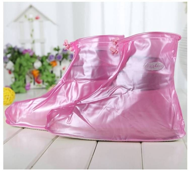 Pinky PVC Rain Boot with Zipper and Adjustable Elastic String