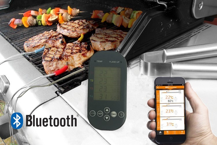 Bluetooth Controlled BBQ Thermometer with Four Probes