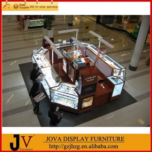 High quality jewelry kiosk design for mall with LED lights
