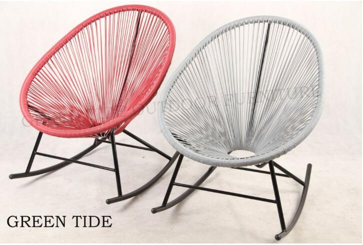 Outdoor Garden Furniture Steel Rattan Wicker Rocking Egg Chair Set 3PCS