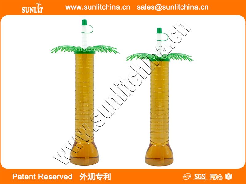 14oz & 18oz Palm Tree Yard Cup With Straw